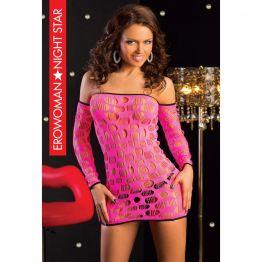 ПЛАТЬЕ СЕТКА цвет розовый, S/L арт. BS-22079