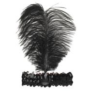 Повязка на голову с пером, цвет черный 2489691