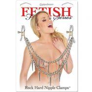 Зажимы на соски и половые губы Зажимы на соски Fetish Fantasy Series Rock Hard Nipple Clamps - Silve