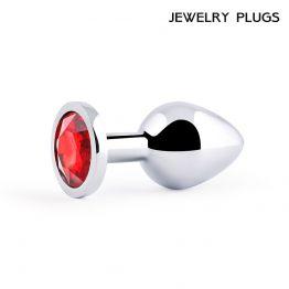 SILVER PLUG MEDIUM (втулка анальная), L 82 мм, D 34 мм, вес 90г, цвет кристалла красный, арт. SM-16