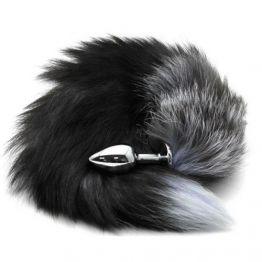 Анальная пробка металлическая диаметр 30 мм с черным лисьим хвостом, BF40black/black