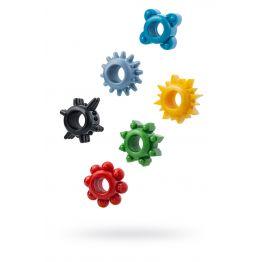 Набор разноцветных колец на пенис 6 шт. TOYFA, TPE