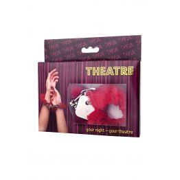 Наручники TOYFA Theatre, меховые красные 951028
