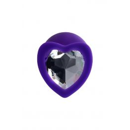 Анальная втулка ToDo by Toyfa Diamond Heart, водонепроницаемая, силикон, фиолетовая, 8 см, Ø 3 см