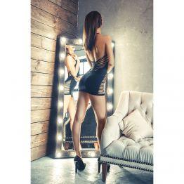 Платье бесшовное Erolanta Net Magic с открытой спиной, черное-S/L