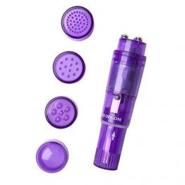 Мини вибратор Erotist Adult Toys с насадками, ABS пластик, фиолетовый