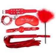 КОМПЛЕКТ (наручники, маска, кляп, плеть) цвет красный, PVC, текстиль арт. NTB-803
