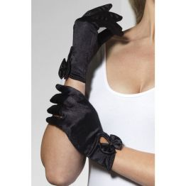 Перчатки Леди атласные (черные) (Fever) (One Size) 03848