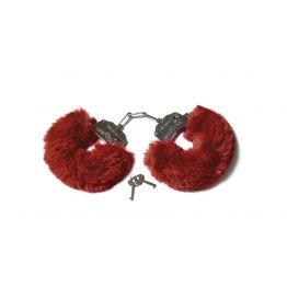 Шикарные наручники с пушистым мехом винного цвета  (Be Mine) (One Size)