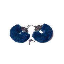 Шикарные наручники с пушистым мехом цвета тихоокеанский синий (Be Mine) (One Size)