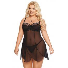 Ночная сорочка и стринги SoftLine Collection Carla, черный, XXXL