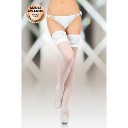 Чулки с широкой кружевной резинкой (с силик. полосками) SoftLine Collection, белый, L