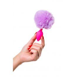 Анальная втулка с хвостом ToDo by Toyfa Sweet bunny, силикон, розово-фиолетовый, 13 см, Ø 2,8 см, 44