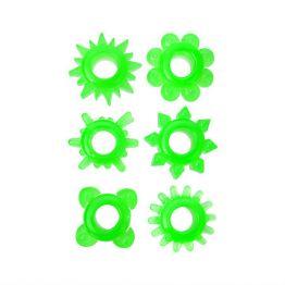 Набор колец на пенис 6 шт TOYFA, TPE, зеленый 888200-10