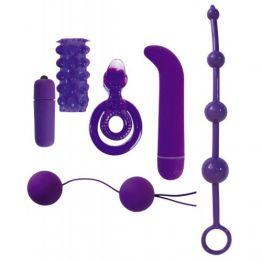 НАБОР 6 предметов (цепочка анальная, вибропуля, минивибратор, насадка, шарики, кольцо эрекционное дв