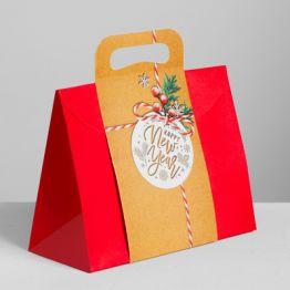 Пакет подарочный Happy New Year, MS 23 × 18 × 10 см